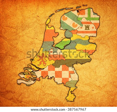 flags of provinces on map with administrative divisions of netherlands - stock photo