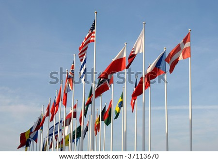Flags of some countries waving to the wind - stock photo