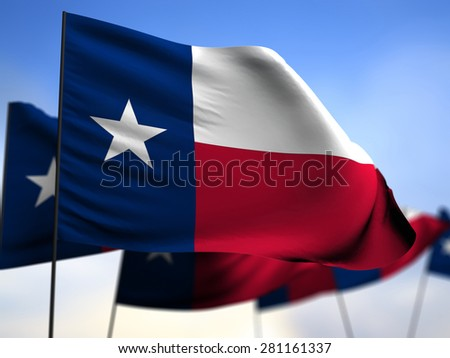 flags of  Texas  on blue sky background - stock photo