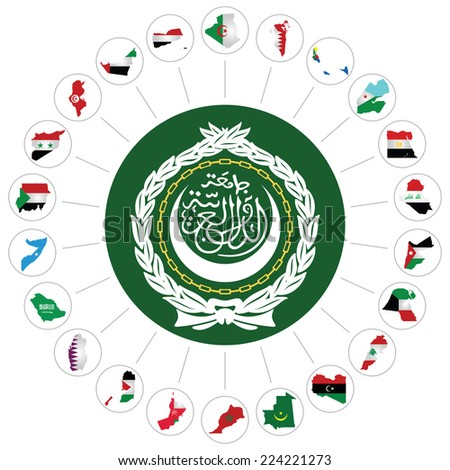 Flags of the Arab League member states overlaid on outline map and the Arab League emblem isolated on white background.  Syria included although currently suspended following the 2011 uprising - stock photo