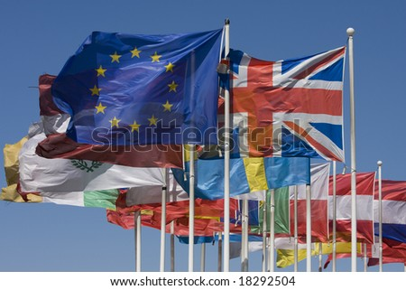 Flags of the EU - stock photo