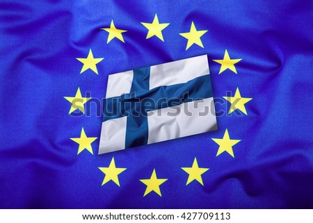 Flags of the finland and the European Union. Finland Flag and EU Flag. Flag inside stars. World flag concept. - stock photo