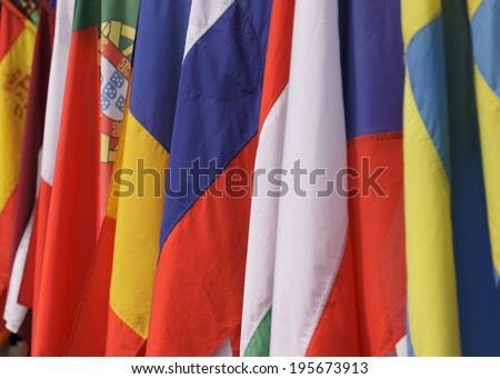 Flags of the member states of the European Union - stock photo