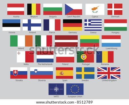 Flags of the 27 members of the European Union as of 2008 plus the symbol of NATO and the European Union in real official proportions, named. Rasterized vector graphic. - stock photo