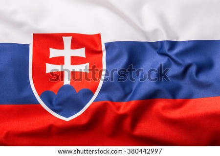 Flags of the Slovak Republic and the European Union. Slovak republic  Flag and EU Flag. World flag money concept. - stock photo
