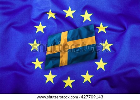 Flags of the Sweden and the European Union. Sweden Flag and EU Flag. Flag inside stars. World flag concept. - stock photo