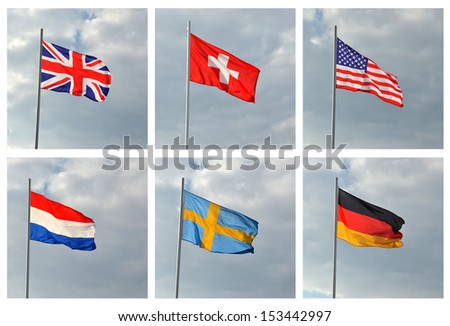 Flags of the world against the sky with clouds. American, German, British, Swiss, Swedish, Luxembourg. Flags developed in the wind - stock photo