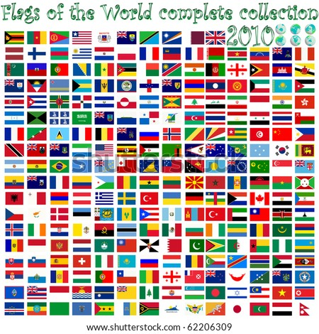flags of the world and earth globes, abstract art illustration - stock photo