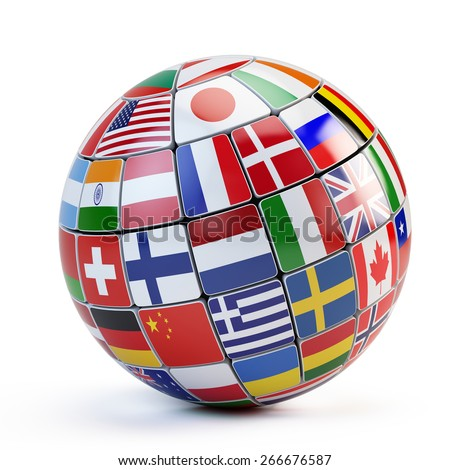 Flags of the world in globe isolated on white - stock photo