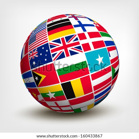 Flags of the world in globe. Raster version of vector - stock photo