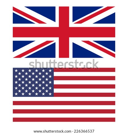 Flags of United Kingdom and United States - stock photo