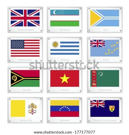 Flags of United Kingdom, Uzbekistan, Tuva, United States, Uruguay, Tuvalu, Vanuatu, Vietnam, Turkmenistan, Vatican City, Venezuela and Turks and Caicos Islands on Metal Texture Plates.  - stock photo