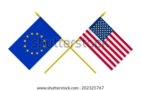 Flags of USA and European Union, 3d render, isolated on white - stock photo