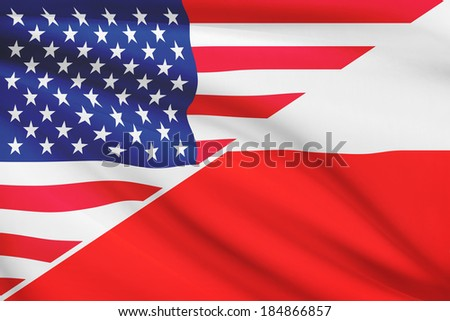Flags of USA and Poland blowing in the wind. Part of a series. - stock photo