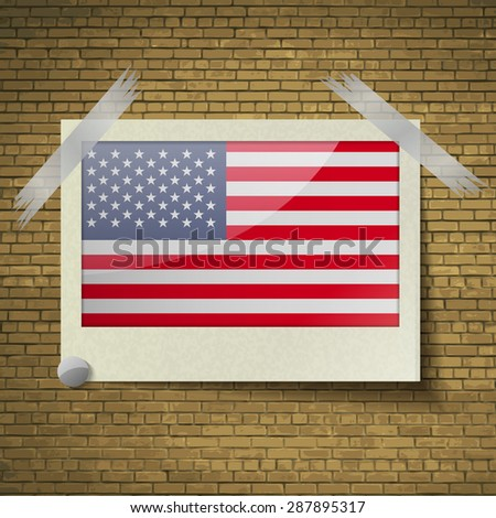 Flags of USA at frame on a brick background.  illustration. Rastrized version - stock photo