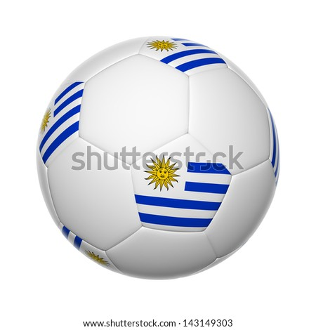 Flags on soccer ball of Uruguay - stock photo