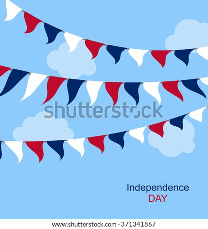 Flags USA Set Bunting Red White Blue for Independence Day 4th of July. Patriotic Symbolic Decoration for Celebration Backgrounds - raster - stock photo