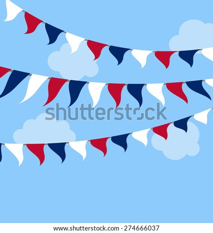 Flags USA Set Bunting Red White Blue for Independence Day 4th of July President Day Washington Day US Labor Day. Patriotic Symbolic Decoration for Celebration Backgrounds - raster - stock photo