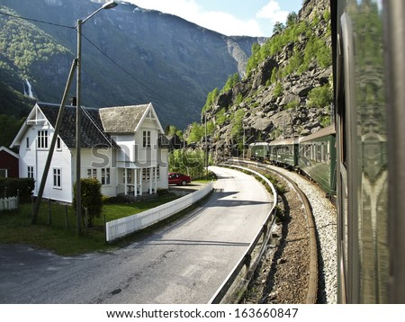 Flam fiord railway tour, Norway - stock photo