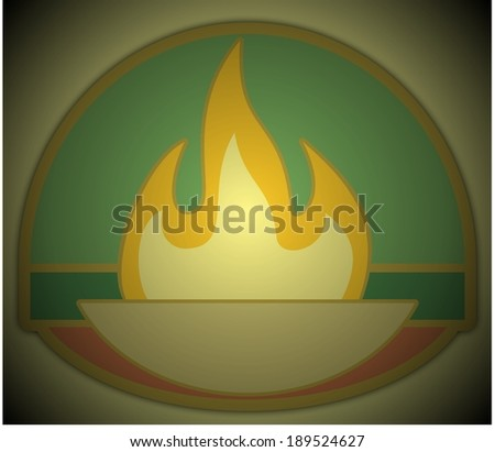 Flame and bowl symbol with green background  - stock photo