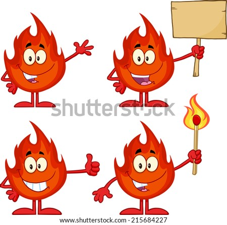 Flame Cartoon Mascot Character 3. Raster Collection Set - stock photo