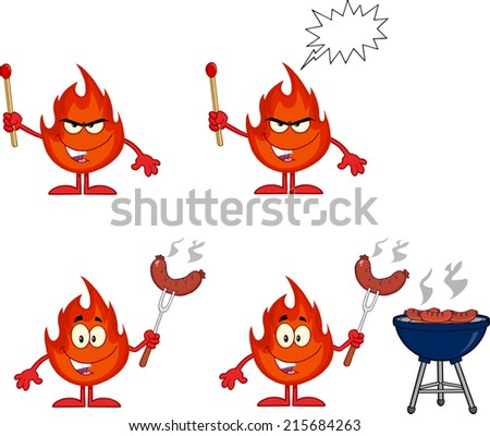Flame Cartoon Mascot Character 2. Raster Collection Set - stock photo