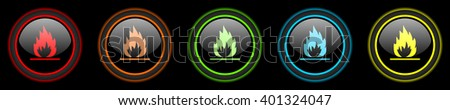 flame colored web icons set on black background - stock photo