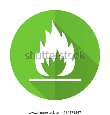 flame green flat icon 