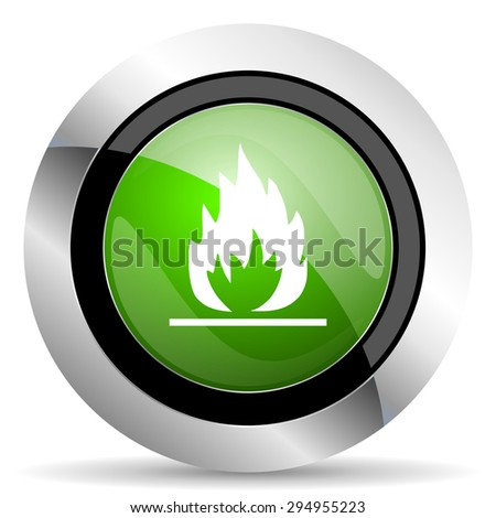 flame icon, green button  - stock photo