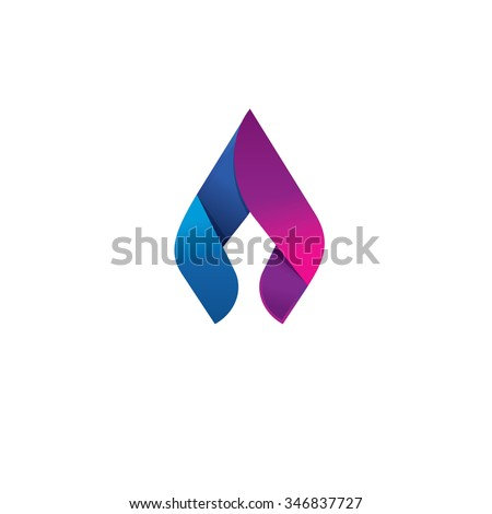 Flame logo design template concept. Spear and lance sharp element icon. Beauty and elegant identity ornament. Natural gas business company or fresh energy abstract symbol design. Stock image. - stock photo
