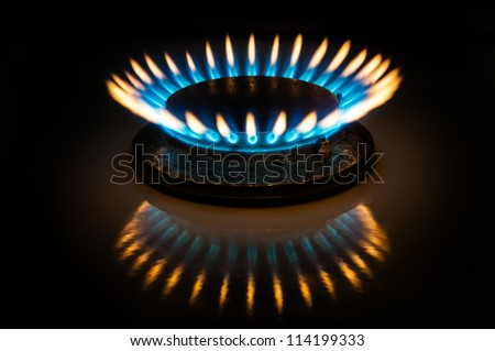 Flame of gas burner forming crown form in dark. - stock photo