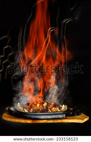 Flamed hot bbq  - stock photo