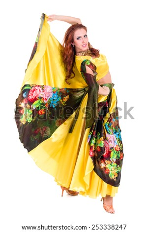 Flamenco dancer woman posing, isolated on white background in full length - stock photo