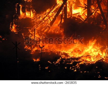 """Flames from a """"Falla"""" (Valencia), where one monument 4 m. high is fired the 19th of March - stock photo"""