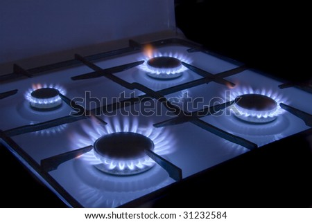 Flames gas stove - stock photo