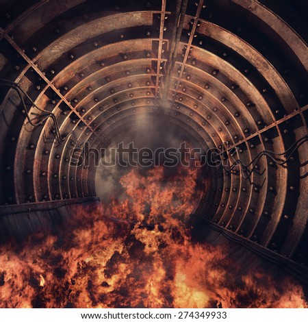 Flames in an old railway tunnel - stock photo