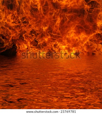 Flames pouring out of a lake with reflection - stock photo
