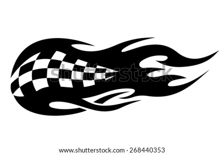 Flaming black and white checkered flag tattoo depicting speed in motor sports from flaming exhausts of cars or bikes - stock photo