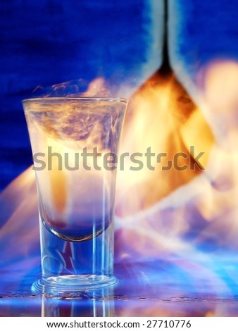 Flaming cocktail - stock photo