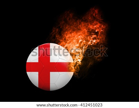 Flaming Football Ball on black background with team flags, Europe 2016. Group B, England - stock photo
