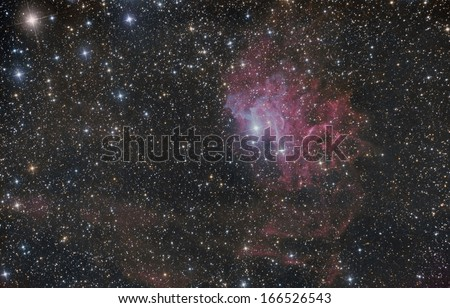 Flaming Star Nebula (IC 405) in the constellation Auriga - stock photo