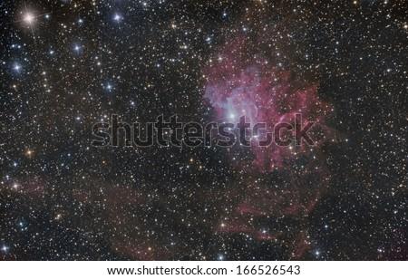 Flaming Star Nebula (IC 405) in the constellation Auriga - stock photo
