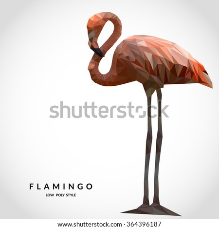 Flamingo low poly style. Polygonal mosaic  illustration - stock photo