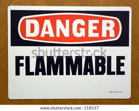 flammable sign in a lab - stock photo