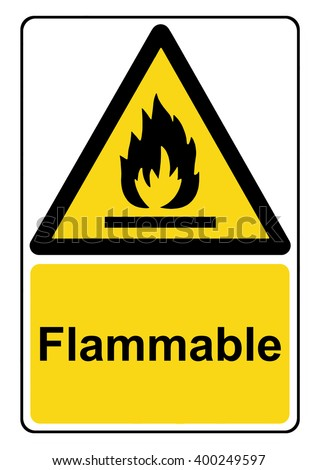 Flammable substances yellow warning sign - stock photo
