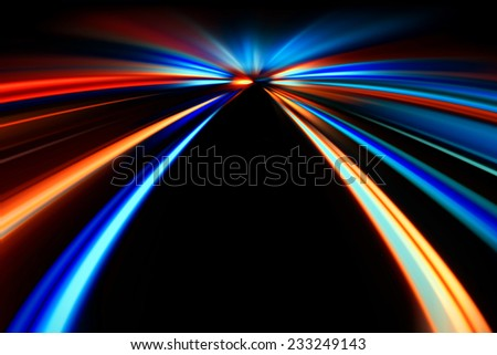 flash acceleration speed motion on night road - stock photo