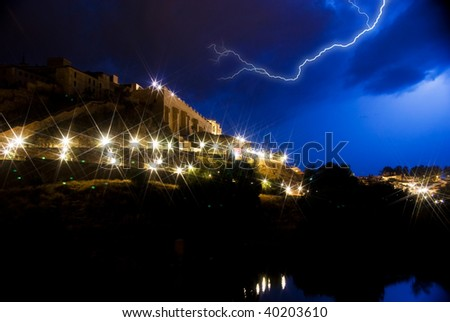 flash over old city - stock photo