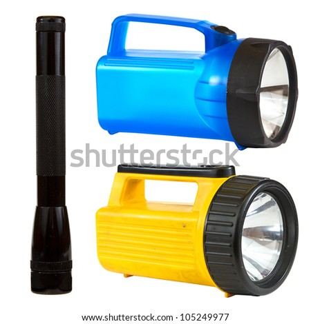 Flashlight collage isolated on white background depicting a black, blue and yellow flashlight. - stock photo