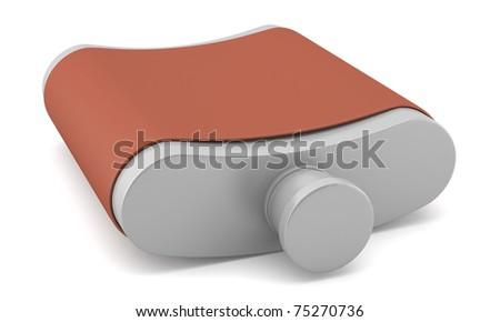 Flask isolated on white background - stock photo