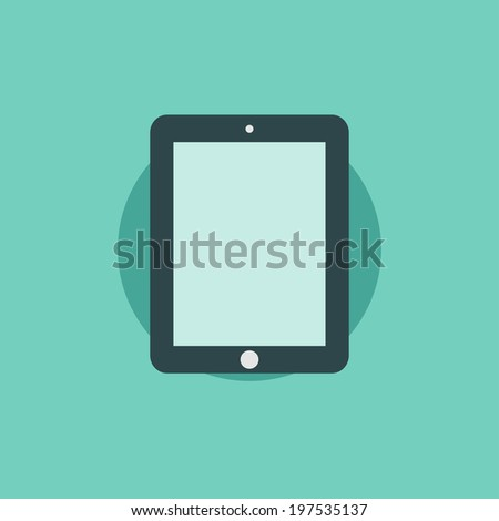 Flat abstract background with web icons. Interface symbols. Cloud computing. Mobile devices. - stock photo